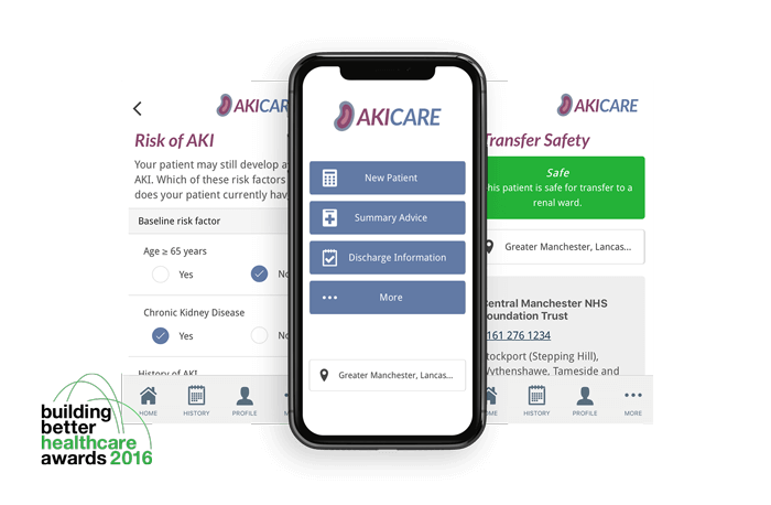 "Smartphone showing different sections of the AKI Care app. AKI Care has won the ""building better healthcare awards 2016"""