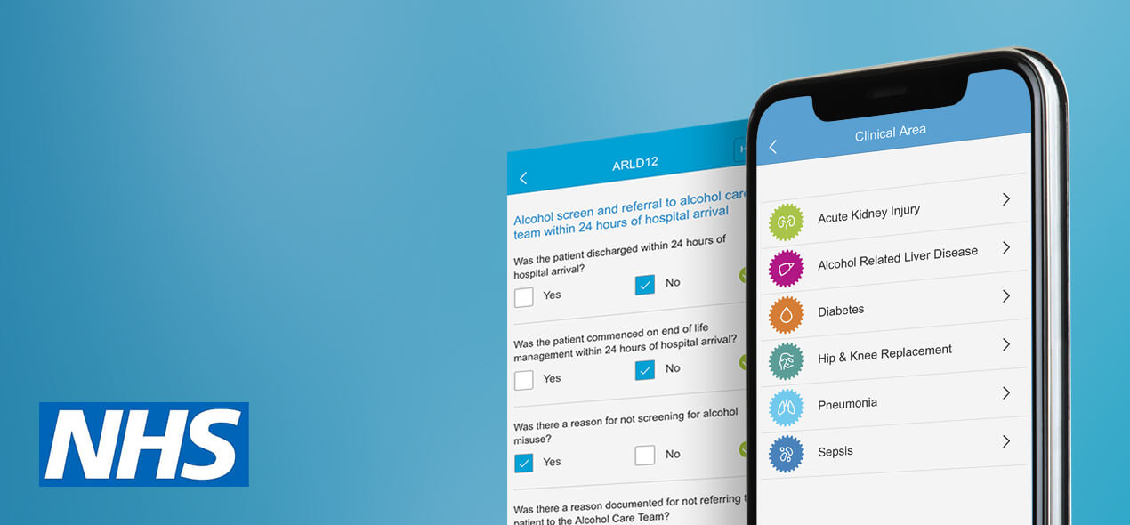 Smartphone showing different clinical areas of the healthcare app we developed for AQuA. AQuA is an NHS health and care quality improvement organisation