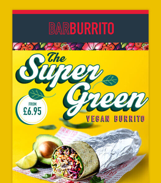 "Barburrito email newsletter promoting ""The Super Green"" vegan burrito"